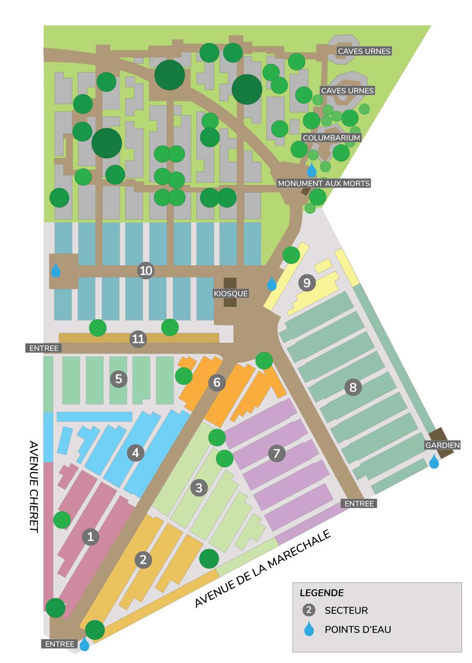 Plan du cimetière du Plessis-Trévise