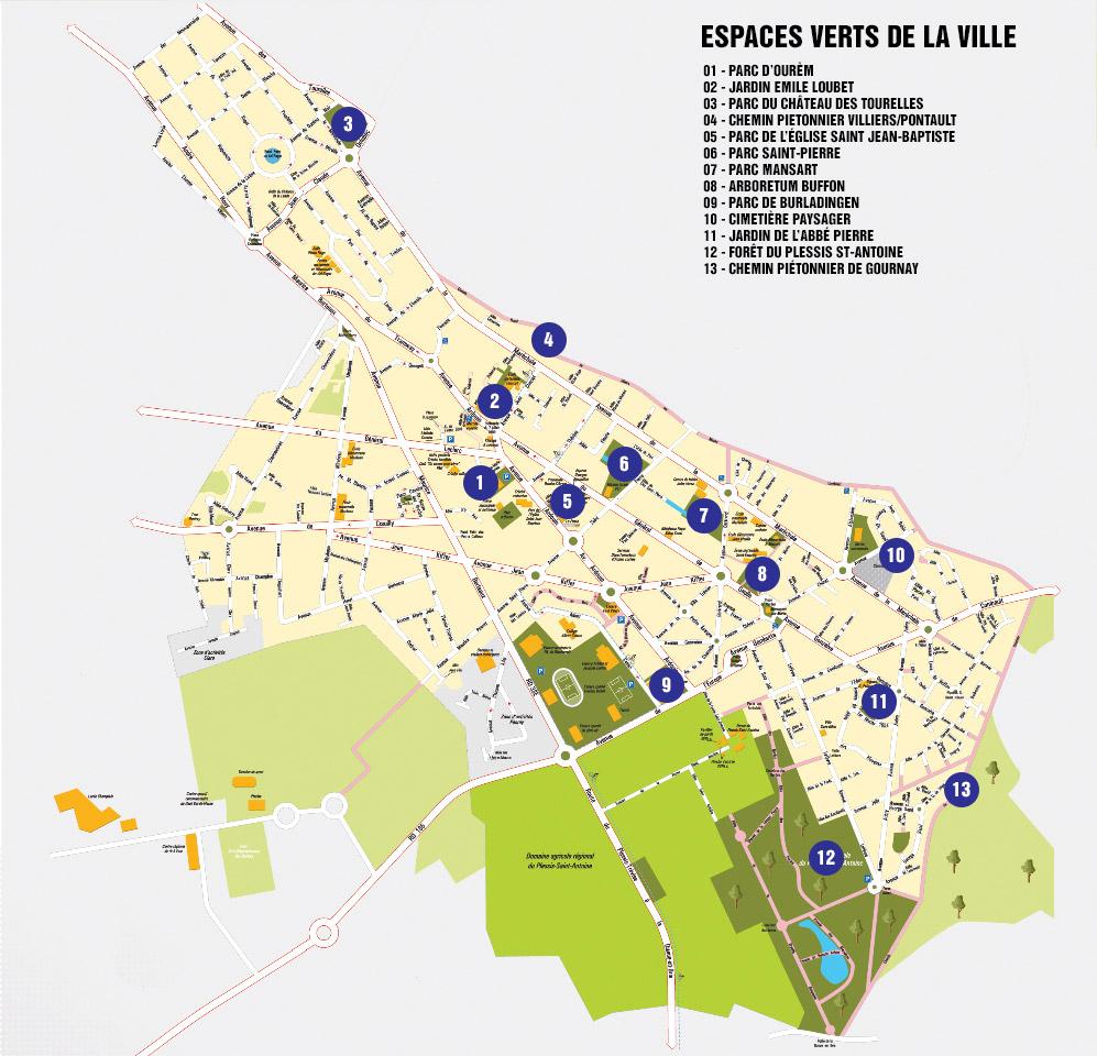 Plan des espaces verts de la ville
